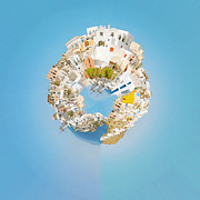 Oia Framed Prints - Oia Panorama planet Framed Print by Antony McAulay