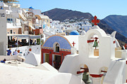 Eastern Orthodox Photos - Oia Village Santorini Greece by Carole-Anne Fooks