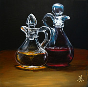 Vinegar Painting Framed Prints - Oil and Vinegar Framed Print by Marco Antonio Aguilar