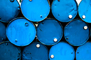 Steel Drum Prints - Oil Barrels Or Chemical Drums Stacked Up Print by Tanawat Pontchour