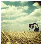 Oil Pumper Posters - Oil Boom Poster by Becky Gossett