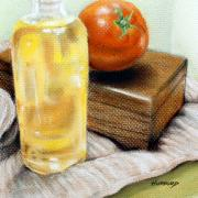 Food Pastels Framed Prints - Oil Bottle and Tomato Framed Print by Mark Hufford