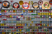 Motor Photo Metal Prints - Oil cans and gas signs Metal Print by Garry Gay