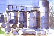 Machinery Painting Prints - Oil Depot in April Print by Kip DeVore