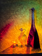 Vinegar Digital Art Prints - Oil Lamp with Oil and Vinegar Print by Georgianne Giese