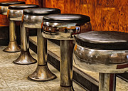 Stools Prints - Oil Painted Bar Stools Print by Brian Mollenkopf