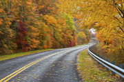 Yellow Line Prints - Oil Painted Country Road Print by Brian Mollenkopf