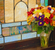 Wedding Chapel Framed Prints - Oil Painted Flowers and Stained Glass Framed Print by Brian Mollenkopf