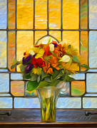 Wedding Chapel Framed Prints - Oil Painted Stained Glass and Bridal Bouquet Framed Print by Brian Mollenkopf