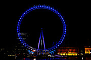 Londoneye Prints - Oil Painting - London Eye in blue light at night Print by Ashish Agarwal