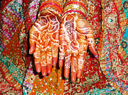 Red Prints - Oil Painting - Wonderfully decorated hands of a bride Print by Ashish Agarwal