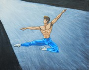 Ballet Dancers Painting Prints - Oil Painting a Ballet Dancer  Print by Luigi Carlo