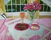 Tray Paintings - Oil Painting Breakfast over looks the pond by Margaret Newcomb