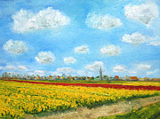 Netherlands Paintings - Oil painting Flowerfields Netherlands  by Nancy Van den Boom