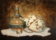 Pottery Paintings - Oil Painting - Indian Pots by Roena King