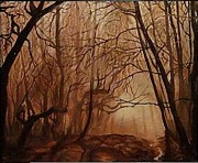 Signe Prints - Oil painting original oil canvas  landscape  forest Print by Angel Angelov