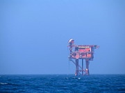 Sea Platform Prints - Oil Platform Print by Anders Skogman