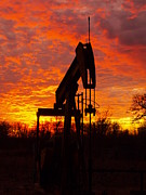 Oil Pump Photos - Oil Pump Beneath A Blazing Sky by James Granberry