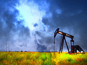Oklahoma Digital Art Prints - Oil Pump Field Print by Wingsdomain Art and Photography