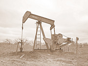 James R Granberry Posters - Oil Pump In Sepia Poster by James Granberry