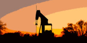 James R Granberry Posters - Oil Pump In Sunset Poster by James Granberry