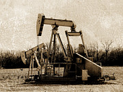 Textured Photograph Prints - Oil Pump Jack in Sepia Print by Ann Powell