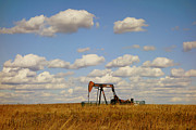 Oklahoma Landscapes Posters - Oil Pump Jack on the Prairie Poster by Ann Powell