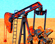 Oil Pumps Prints - Oil Pump - Painterly Print by Wingsdomain Art and Photography