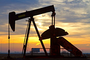 Oil Pumps Prints - Oil Pump Sunrise Print by James Bo Insogna