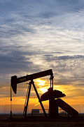 Oil Drilling Posters - Oil Pumper At Sunrise Vertical Image Poster by James Bo Insogna
