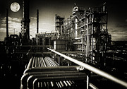 Pipelines Acrylic Prints - Oil Refinery And Moonlight Grain And Grunge Acrylic Print by Christian Lagereek