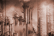 Oil Refinery Photo Posters - Oil Refinery In Red Toning Poster by Christian Lagereek