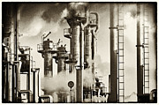 Pipelines Acrylic Prints - Oil Refinery Old Fashioned Style Acrylic Print by Christian Lagereek