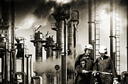 Workers Posters - Oil Refinery Old Style Photo Poster by Christian Lagereek