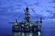 Oil Rigs Prints - Oil Rig At Twilight Print by Bradford Martin