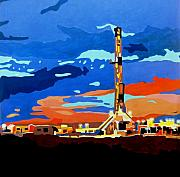 Dallas Mixed Media Prints - Oil Rig II Print by Diana Moya