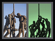 Oilmen Mixed Media - Oil Rig Workers Diptych by Steve Ohlsen