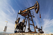 Oil Pumper Posters - Oil well  Poster by Cristina-Velina Ion