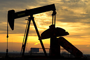 Oil Field Prints - Oil Well Pump Sunrise Print by James Bo Insogna