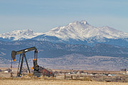 Pumpjack Posters - Oil Well Pumpjack and Snow Dusted Longs Peak Poster by James Bo Insogna