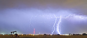 Lightning Prints - Oil Well Pumpjack Thunderstorm Panorama Print by James Bo Insogna