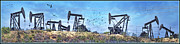 American Oil Wells Posters - Oil Wells on a Hill Poster by Chuck Staley