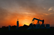 Oil Pumper Posters - Oilfield Sunset Poster by Debra McKinnon