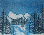 Quad Painting Posters - Oils on Canvas Blue Winter Poster by Margaret Newcomb