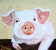 Animal Paintings - Oink by Debbie LaFrance