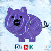 Animal Mixed Media Metal Prints - Oink the Pig License Plate Art Metal Print by Design Turnpike