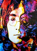 John Lennon Mixed Media Originals - Ojective Peace - John Lennon by Mark Lewis