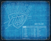 Nba Playoffs Prints - OKC Thunder Blueprint Print by Joe Myeress