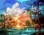 Swamp Mixed Media - Okefenokee Sunset Magic  by Ginette Callaway