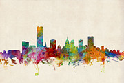Silhouette Digital Art - Oklahoma City Skyline by Michael Tompsett